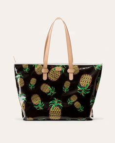 Consuela Black Pineapple Zipper Tote, Legacy Collection