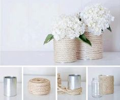 All you need is an empty tin can, paint colors of your choice and you have beautiful decor! Here are some of my favorite DIY tin can wedding decor ideas! Tin Can Crafts, Diy And Crafts, Rope Crafts, Decoration Shabby, Creation Deco, Diy Wedding, Wedding Ideas, Wedding Blog, Wedding Paper