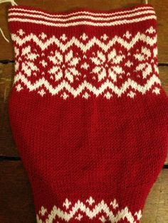 Knitted christmas stocking - unfinished