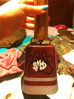 Painted cowbell for Mississippi State Bulldog fans!!