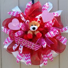 Happy Valentine's Day Lion Love Wreath 25' wreath I love You Home Office Decor Wreath Valentines door wreath gift Chevron Wreath Lion lover by SouthernHeartWreaths on Etsy