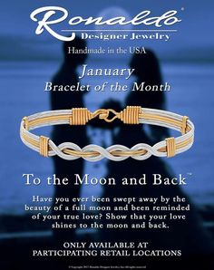 """Ronaldo's Bracelet of the Month is """"To The Moon and Back! Ronaldo Bracelet, Jewelry Design, Designer Jewelry, How To Show Love, Wire Wrapped Jewelry, True Love, Wire Wrapping, Handmade Jewelry, Moon"""