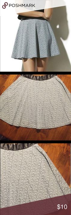 Adam Levine faux leather waist skirt Perfect greyish-blue pattern skirt with a faux leather waist. Zipper back. Flare mini silhouette. Very edgy AND feminine Adam Skirts Mini