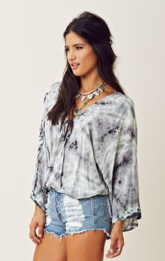 Blu Moon Kimono Criss Cross Top