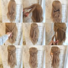 Arrange commentary 2 arrange Divide the upper half of the side into two halves a… - DIY Frisuren lang Down Hairstyles, Pretty Hairstyles, Braided Hairstyles, Boho Hairstyles Medium, Prom Hairstyles, Wedding Hair And Makeup, Bridal Hair, Hair Makeup, Bridesmaid Hair Tutorial