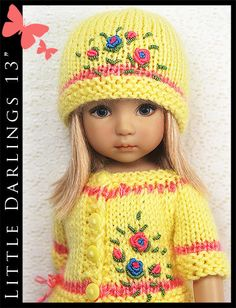 "OOAK Yellow & Pink Outfit Little Darlings Effner 13"" by Maggie & Kate Create"