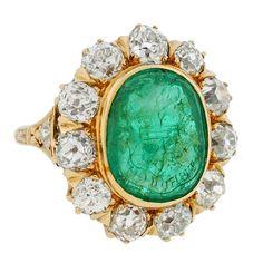 Victorian Diamond & Emerald Family Crest Gold Intaglio Ring 3.95 ctw   (1stdibs.com)