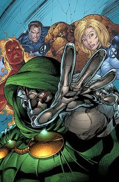 The Fantastic Four and Doctor Doom, by Jim Lee.