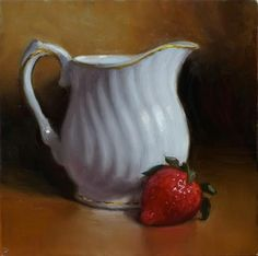 "Daily Paintworks - ""Creamer and Strawberry"" - Original Fine Art for Sale - © Debra Becks Cooper"