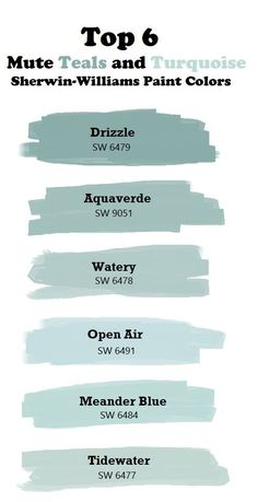 Top 6 Mute Teal and Turquoise Paint Colors. paint colors sherwin williams Top 6 mute teal and turquoise colors. Turquoise Paint Colors, Turquoise Painting, Paint Colours, Watery Paint Color, Beachy Paint Colors, Turquoise Door, Teal Wall Colors, Light Blue Paint Colors, Beach House Colors