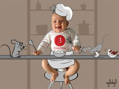 3.and Three month baby chef of a series of 3. Now you could have 3 nice pictures on your kitchen wall, a cup for everyone in the family ... Any other idea you would like to have? #niceidea #personalizedgift #originalidea