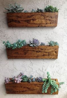 Furniture 3 Pcs Brown Rustic Box Wall Mounted Pot With Kaktus Planter White Stained Wall Wooden Box Pot Wall Mounted Natural Wooden Wall Mounted Pot Creative Wooden Hanging Planter; With Rope And Walnut Material Succulent Wall Planter, Vertical Wall Planters, Wooden Planters, Indoor Planters, Planter Pots, Wall Mounted Planters Outdoor, Diy Wall Planter, Indoor Window Planter, Hanging Wall Planters Indoor