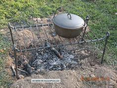 Iron Cooking Grill,  Open Fire,  Camping,  Reenactors,  Bug Out,  Blacksmith Made Primitives photo