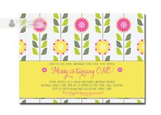 Spring Garden Birthday Invitation 1st First Birthday Pink Yellow Green Flowers Modern Floral Baby Girl DIY Digital or Printed - Missy Style. $20.00, via Etsy.