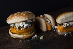 There are veggie burgers, and then there are vegetable burgers. What's the difference? To my mind, it's this: A veggie burger is a patty made of a carefully concocted blend Sweet Potato Patties, Sweet Potato Burgers, Veggie Burgers, Vegan Recipes, Cooking Recipes, Savoury Recipes, Burger Recipes, Potato Recipes, Appetizer Recipes
