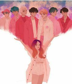 BTS and Halsey fanart is too good! Foto Bts, Bts Photo, K Pop, Bts Taehyung, Bts Bangtan Boy, Jimin Selca, Bts Boys, Fanart Bts, Jungkook Fanart