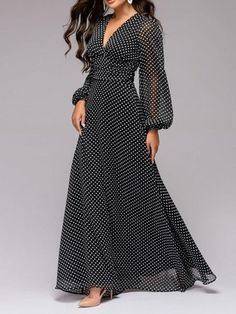 Buy Summer Dresses Maxi Dresses For Women from Misslook at Stylewe. Online Shopping Stylewe Summer Dresses Long Sleeve Chiffon Dresses Date A-Line V Neck Balloon Sleeve Casual Paneled Dresses, The Best Daily Maxi Dresses. Maxi Chiffon, Long Sleeve Chiffon Dress, Chiffon Dresses, Sleeve Dresses, Elegant Midi Dresses, Trendy Dresses, Casual Dresses, Fashion Dresses, Look Fashion