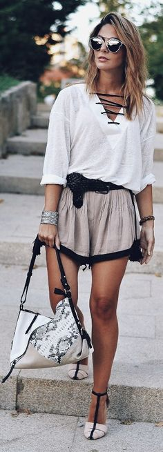 Ma Petite By Ana Lace Up Blouse Outfit Idea