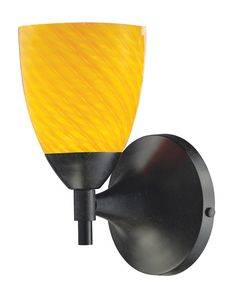ELK Lighting Celina Celina 1-Light Sconce In Dark Rust With Canary Glass - 10150/1DR-CN