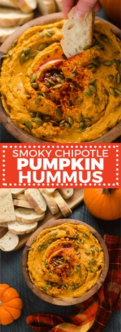 Smoky Chipotle Pumpkin Hummus. This quick, easy, and flavorful fall appetizer is perfect for party food or a Thanksgiving snack.   hostthetoast.com