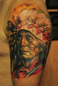 Tattoo by Den Yakovlev  I usually don't like tattoos of faces but this is really cool