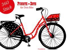 Du möchtest Dein Fahrrad hübsch machen, dann beklebe es doch einfach mit diesen tollen Dots.    Du bekommst 360 Stück.    Suche Dir Deine Lieblingsfarbe