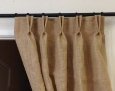 96 Yellow Burlap Curtains Rod By Pillowpuff