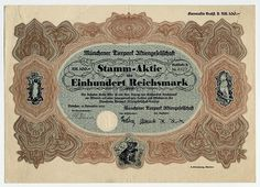 MÜNCHENER TIERPARK AKTIENGESELLSCHAFT Stamm-Aktie über Reichsmark 100 Buchstabe B; München, 13. November 1930