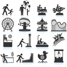 amusement park and Carnival black & white vector icon set vector art illustration