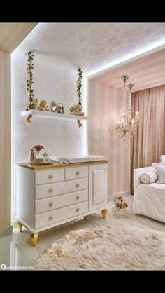 Fanciful touches like this ivy covered swing shelf makes this girl's bedroom a fairytale! Baby Bedroom, Baby Room Decor, Home Bedroom, Girls Bedroom, Bedroom Decor, Baby Room Design, Bedroom Lighting, Deco Kids, Little Girl Rooms