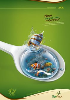 Ecofriendly Disposables GeoPack: Spoon       It's comforting to know we can enjoy ourselves while keeping our planet safe with environmentally friendly products.  Advertising Agency: Pubblica, Bogotá, Colombia