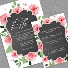 Chalkboard and Rose Frame Invitation and RSVP - free printable wedding PDFs