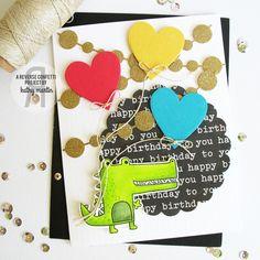 Card by Kathy Martin: Reverse Confetti stamp set: Later Alligator. Confetti Cuts: Later Alligator, Puppy Love, Circles 'n Garland and Circle Garland. Birthday card. Friendship card.