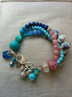 Weiteres - Boho Armband blau silber mehrreihig Glas Keramik - ein Designerstück…