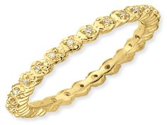 Yellow Gold over Silver Diamond Eternity Stack Band From Gemologica.com