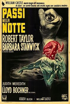 "Italian poster for William Castle's ""The Night Walker,"" with Robert Taylor and Barbara Stanwyck."