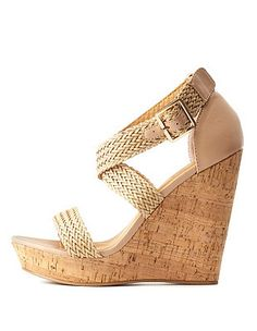 Nude Basket-Woven Wedge Sandals by Charlotte Russe Nude Wedges, Casual Outfits, Casual Clothes, Wedge Sandals, Charlotte Russe, Basket, Shoes, Fashion, Nude Shoes