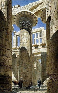 The Hall of Columns, Karnak ( Luxor) Kemet. View across centre avenue', Watercolour on paper Temple complex at Thebes (Luxor) by Richard Phene Spiers English architect Ancient Ruins, Ancient Art, Ancient Egypt, Ancient History, Art History, Ancient Architecture, Art And Architecture, Kairo, Egypt Art