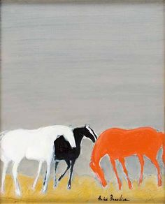 amare-habeo:  André Brasilier (French, born in 1929) Three horses in the stable (Trois chevaux à l'écurie), 2000