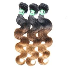 Msbeauty Hair Ombre Hair Brazilian Body wave 3 Bundles Virgin Human Hair Weave Weft Mixed Length(10 12 14) Three Tone Color 1B/4/27# Tangle-free - Brought to you by Avarsha.com