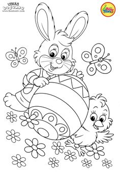 Easter coloring pages - Uskrs bojanke za djecu - Free printables, Easter bunny, eggs, chicks and more on BonTon TV - Coloring books Easter Coloring Pictures, Easter Coloring Sheets, Bunny Coloring Pages, Easter Colouring, Printable Coloring Pages, Coloring Pages For Kids, Coloring Books, Easter Printables, Free Printables