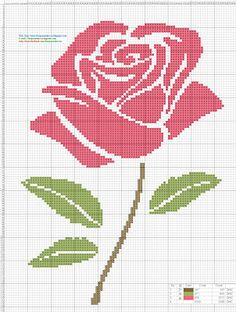 Dibujos Punto de Cruz Gratis: Rosa Pink- Punto de cruz