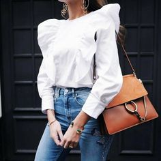 White shirt, denim jeans and Chloe Faye bag for spring style