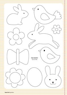Free templates from your april issue papercraft inspirations easter clipart ideas Applique Templates, Applique Patterns, Applique Designs, Easter Templates, Bird Template, Owl Templates, Crown Template, Heart Template, Flower Template