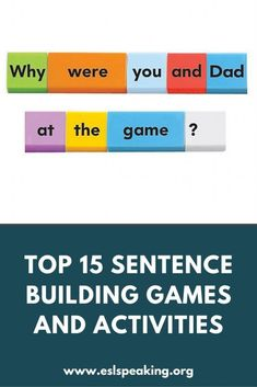 Check out these top 14 sentence building activities and games for ESL, along with lesson plans and worksheets for making full sentences. Making Sentences, Some Sentences, English Sentences, Sentence Structure Lessons, English Sentence Structure, Efl Teaching, Free Teaching Resources, Teaching English Grammar, Sentence Building