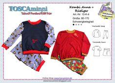 Kindermode - Schnittmuster Kinderschlafanzug Gr. 80-170 - ein Designerstück von TOSCAminni-Schnittmanufaktur bei DaWanda