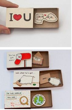 35 homemade valentine gift ideas for him 35 homemade valentine . - 35 homemade valentine& day gift ideas for him 35 homemade valentine& day gift ideas for - Diy Birthday, Birthday Gifts, Funny Birthday, Valentines Bricolage, Matchbox Crafts, Matchbox Art, Diy And Crafts, Paper Crafts, Cute Crafts