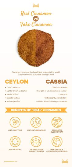 Cinnamon is one of the healthiest spices in the world. However, there are big differences between the two types: cassia and Ceylon cinnamon. Real Cinnamon, Cassia Cinnamon, Cinnamon Uses, Cinnamon Recipes, Tips & Tricks, Herbal Medicine, Health Problems, Natural Health, Au Natural
