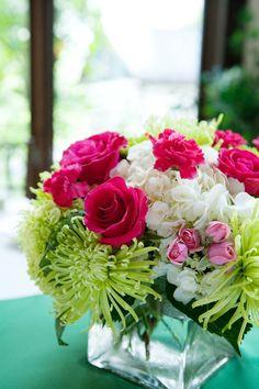 Pink Green Virginia Farm Spring Wedding Floral Centerpieces 275x412 Jamie + Chads Pink & Green Virginia Wedding, Part 2