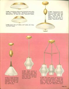 Vintage Virden lighting - 52 page catalog from 1959 - Retro Renovation Kitchen Ceiling Lights, Kitchen Lighting Fixtures, Light Fixtures, 1950s Furniture, Mid Century Chandelier, Mid Century Modern Lamps, Wrong Number, Old Lamps, Retro Renovation